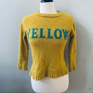 ZARA yellow fancy collection knitted sweater sz 10